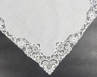 Wedding Lace Handkerchief - Brides Handkerchief - Vintage Lace Hankie - Something Old