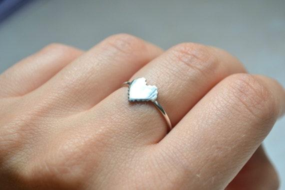 Pixel Heart Ring, 8 Bit Digital Pixel Heart 925 Silver Ring, Geeky Nerdy Zelda Video Game Nintendo Jewelry