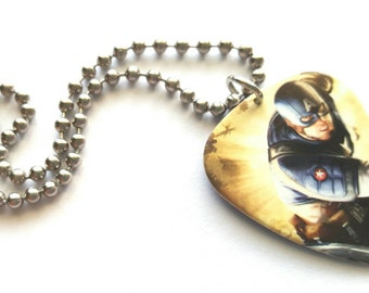 Captain America Guitar Pick Necklace with Stainless Steel Ball Chain - super hero - comic book - Marvel Comics