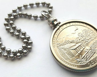 Smoky Mountains Coin Necklace with Stainless Steel Ball Chain or Key-chain - 2014 - National Park Quarters - uncirculated coin