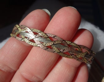 Sterling Silver Bracelet 925 Braid Weave Braided Weaved Rose Gold Yellow Silver Tri Color Italy Birthday Anniversary Gift 7 1/2 Anniversary