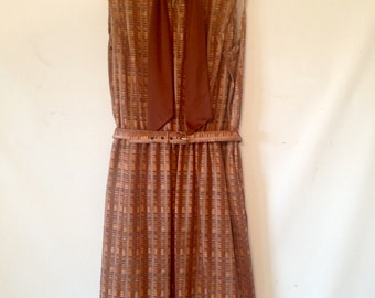 plus size brown vintage dress 1980s VTG 80s XXL plus size clothing brown and tan dress