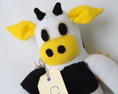 Chloe Cow. Handmade sock cow, sock monkey, soft plush cow, toy cow for children. Softie.