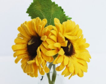 Sunflower with leaf, crafted