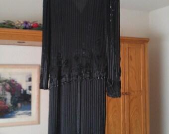 Vintage Beaded Full-length Black Evening Dress - Flapper Style