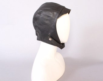 Vintage SCHOTT Leather HAT / Black Leather Chin Strap Aviator Style Motorcycle Cap