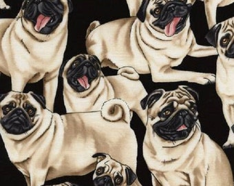 PUGS - Timeless Treasures - Allover Fawn Pug Fabric - Cotton Novelty Quilting Fabric - Pug Puppy Lovers Fabric - Pugs Cotton Fabric