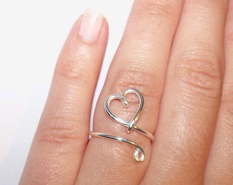 Wire Heart Adjustable Ring, Thumb Ring, Adjustable Size, Silver