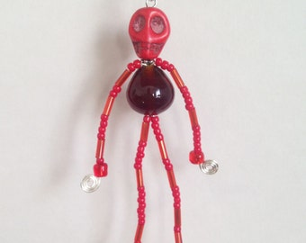Little Red Skeleton Doll Keychain! Small Beaded Figure is One of a Kind! Enjoy!