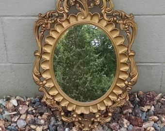 Gold Mirror, Italian Mirror, Vintage Gold Mirror, Vintage Italian Mirror, Gilded Mirror,Hollywood Regency Mirror,Ornate Gold Mirror