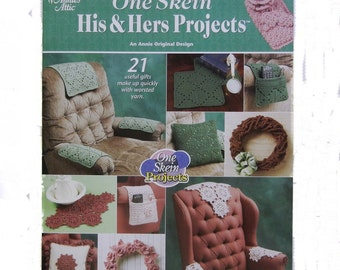 Crochet Projects One Skein His & Hers Book by Annie's Attic (2000): Coasters, Doilies, Wreaths, Book Cover, Eyeglass Case, More