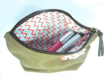 Khaki Green Make Up Bag With Colourful Geometric Lining And Flourish