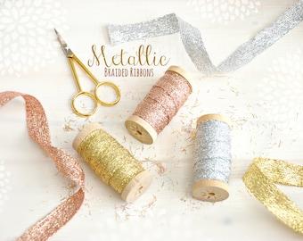 Metallic Braided Ribbon -  5/8 Inch - Gold Ribbon, Wedding Ribbons, Silver Ribbon, Gold Ribbon, DIY Weddings - Metallic Trims - Bling Ribbon