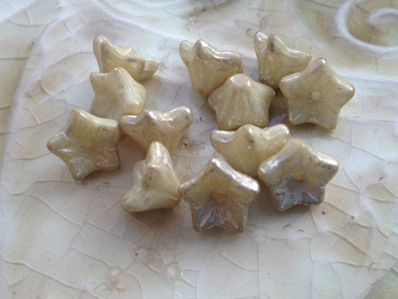 Bell Flower Beads - Cream with Champagne Shimmer Finish - Czech Glass - Petite 6x9mm - Five Petals - Qty 12