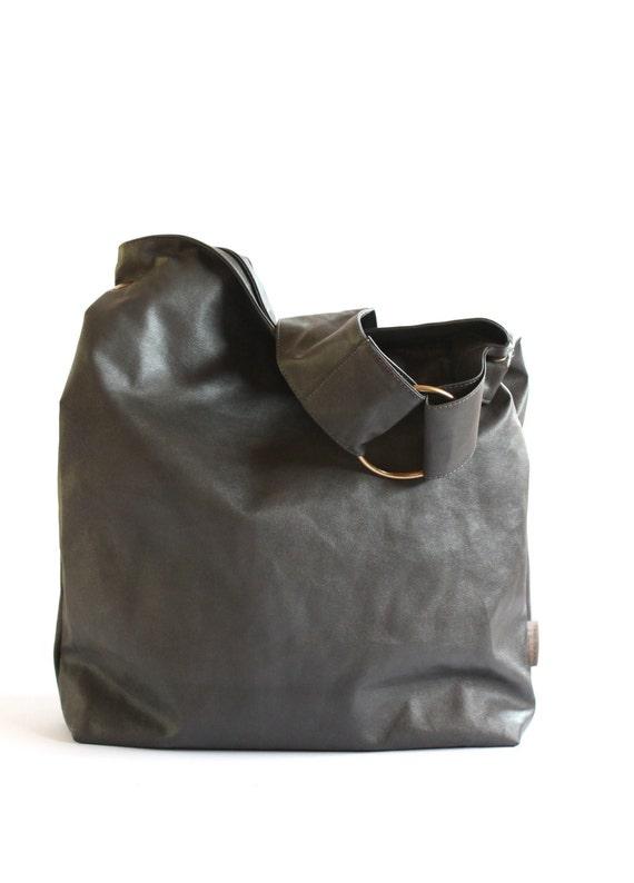 Grey Handbag Hobo Bag Messenger Vegan Hobo Bag Crossbody