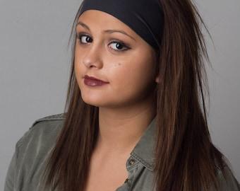 NonSlip Yoga Headband - Running Headband - Black Germ resistant & Moisture Wicking Headband by Manda Bees - Antimicrobial EBONY