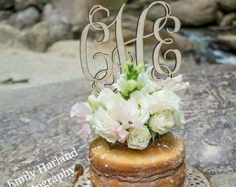 """Wedding Cake Topper, Cake Topper, Monogram Cake Topper, Rustic Cake Topper, Custom Cake Topper, 5"""" Wood Script with Spikes - UNFINISHED"""