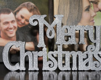 Merry Christmas Sign - Self Standing Holiday Decor - Displays Beautifully on a Mantel and Tabletop - Fun, Festive, & Eye-Catching - Sparkle