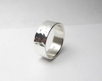 Wide Hammered Silver Ring 9mm Wide Made to Order