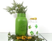 Decorated Mason Jars, Shamrock Decor, St Patricks Day Party Decorations, Green Mason Jars, Spring Decor, Rustic Centerpiece