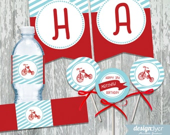 Personalized Red Tricycle Printable DIY Party Package - Banner - Cupcake Toppers - Water Wrappers
