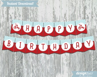Classic Red Tricycle Printable DIY Happy Birthday Pennant Banner Red & Blue INSTANT DOWNLOAD