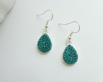 Petroleum green earrings, drop earring, dangle green earrings, handmade jewelry, crochet earring, drop green earring, gift for mom