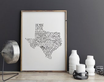 State of Texas Typography Print; Wall Decor; Christmas Gift; Wall Art; Wedding Anniversary Engagement Graduation Gift Decor
