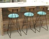 Mid century Modern, vintage style, bar stool, curved plywood back