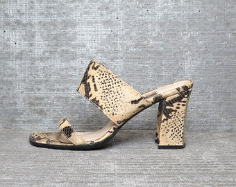 Vtg 90s Snakeskin Leather Cage Strappy Chunky Minimalist Mules Sandals 7