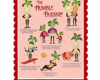 Retro Kitchen Print - Anthropomorphic Vegetable Print - The Humble Parsnip - Vintage Kitchen - Retro Food Art