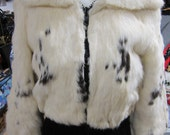 Cropped Fur Jacket // Boho Coat // 60s Clothing // Hippie Clothes // White Fur Coat // Spooted Rabbit Fur // XS SMALL