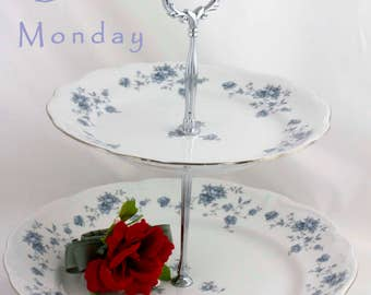 Tiered Cake Stand, Haviland China, 2 Tier Serving Tray, Blue White China, Tidbit Pastry Stand, Blue Garland Rose Plates