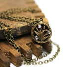 "Cattail Necklace, Antique Cat Tail Jewelry, Cut Steel Brass Keepsake, Floral Heirloom - ""Lady of the Marsh"""