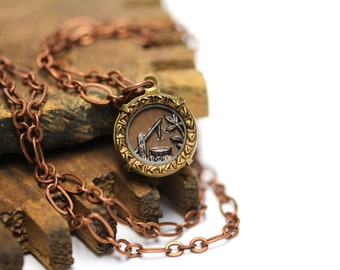 "Antique Button Necklace, Water Pump Jewelry, Wishing Well, Lucky Charm Necklace, 19th Century Jewelry Gift - ""A Day's Good Work"""