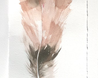 Watercolor Feather painting-Art original-Feather painting in smoke rose and gray/ Feather artwork 7,5'x11'/ Art lover gift/ Minimalist art