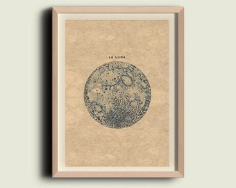 "Full Moon ""La Luna"" Print Recovered Vintage Image to Frame"