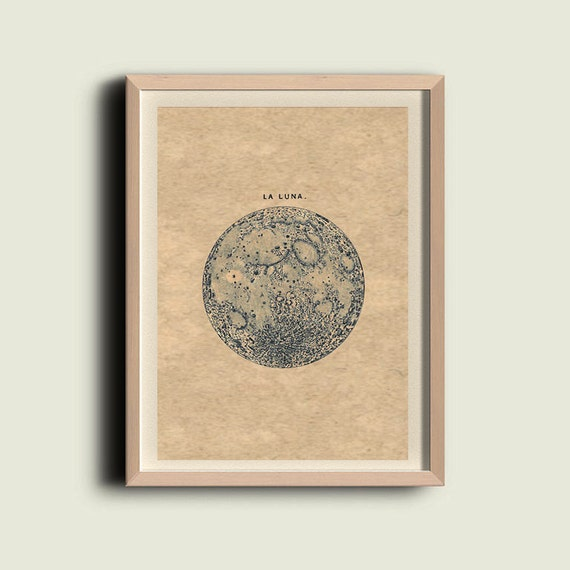 "Full Moon ""La Luna"" Print Recovered Vintage Image to Frame"