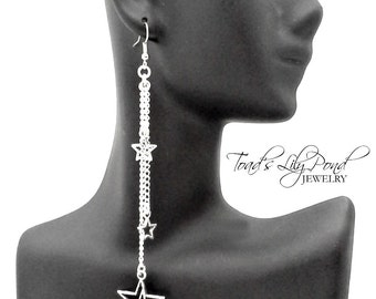 "Silver star earrings, long dangle earrings, shooting star jewelry, bohemian jewelry, very long silver star earrings 4.25"" in silver tone"