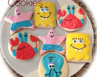 SALE-Spongebob Squarepants Sugar Cookie Favors-Spongebob birthday-spongebob party