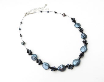 Black freshwater pearl necklace with crystal on silk thread, coin shaped pearl, round flat pearl