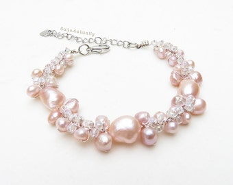Pink freshwater pearl bracelet with glass beads on silk thread, pink pearl bracelet