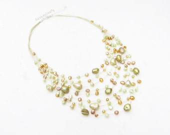 Green yellow freshwater pearl necklace with crystal on gold silk thread, multistrands necklace