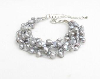 Silver gray freshwater pearl bracelet on silk thread, bridesmaid bracelet, multistrand bracelet, crochet, kniited