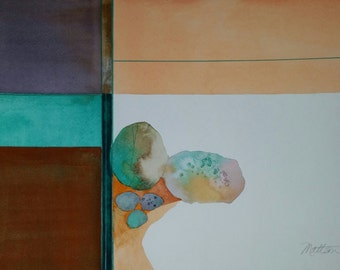 """SALE  Zen Impressions  """" Opal and Turquoise""""  one of a kind original watercolor."""