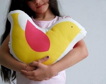 Bird plushy, Yellow bird stuffed toy, Decorative cushion, Children pillow, cotton kids soft toys, nursery toy, stuffed animal pillow, girls