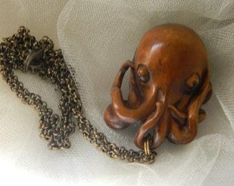 Netsuke Boxwood octopus pendant w brass chain necklace , Japanese hand carved Netsuke pendant , transformation symbol , large size pendant