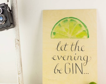 Gin and tonic Picture - Lime Picture - Lemon Picture - Kitchen Wall Art - Wooden Picture - Gin Wall Art - Gin Art - Funny Gin Art