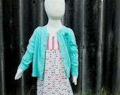 Coral Stripe Mint Gold Chevron Arrow Hummingbird Dress - Baby Girl