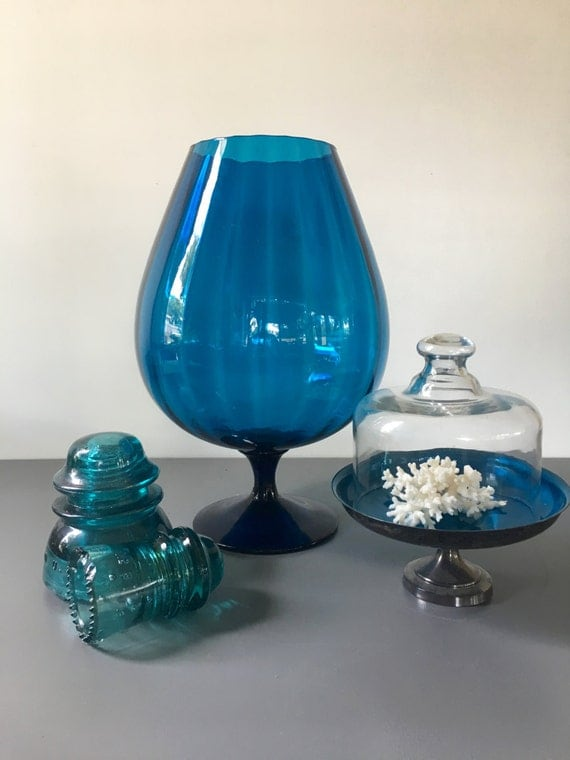vintage large footed vase peacock blue optic glass blown